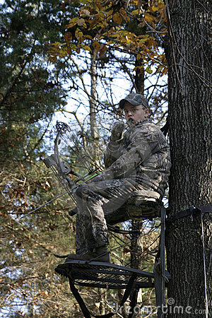 Bow Hunter Waiting in Tree Stand 2