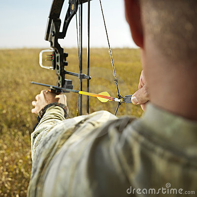 Free Bow Hunter With Compund Bow. Stock Photos - 2046493