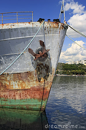 Bow of rusty ship