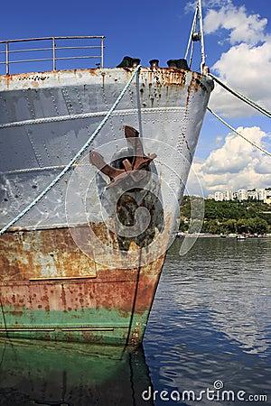 Bow of rusty ship
