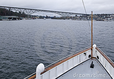 Bow of steamship on lake