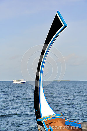 Bow of traditional maldivian Dhoni boat
