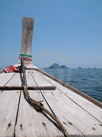Bow of wooden boat at the Andaman Sea, Thailand