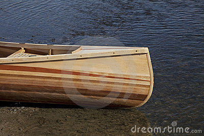 Bow of wooden canoe