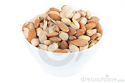 Bowl with almonds and pistachios