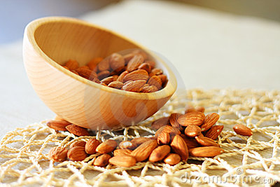 Bowl of almonds. Selective focus