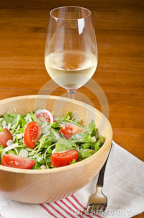 Bowl of Arugula and a Glass of White Wine #1