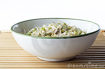 Bowl of Beansprouts on Bamboo Placemat