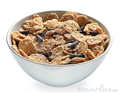 Bowl Of Bran Cereal With Chocolate Curls Royalty Free ...