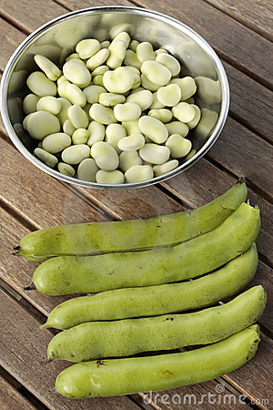 Bowl of broad beans and pods