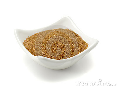 Bowl of brown sugar isolated