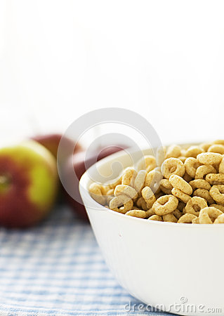 Bowl with cereals and apples