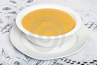 Bowl of cheddar cheese soup