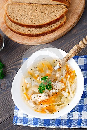 Bowl of chicken soup with vegetables and noodles