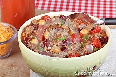 Bowl of Chili Closeup