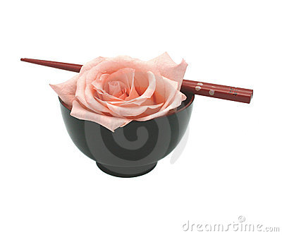 Bowl, chopsticks and rose