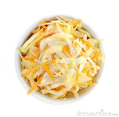 Bowl of coleslaw from above