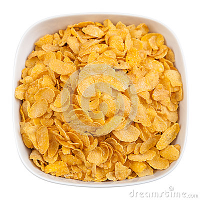 Bowl of corn flakes isolated with clipping path
