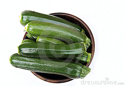Bowl of courgettes
