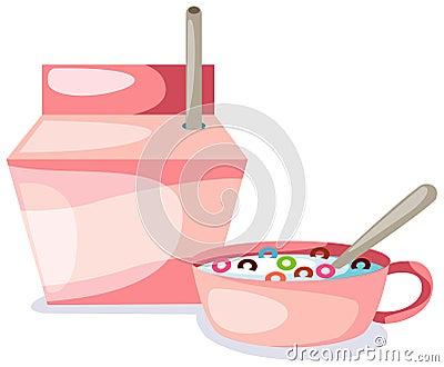 Bowl of creal and milk box
