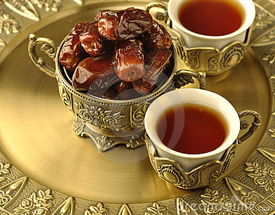 Bowl of dates and tea