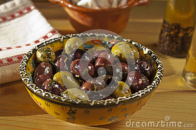 Bowl of delicious black and green olives
