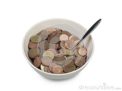 Bowl of european money with spoon
