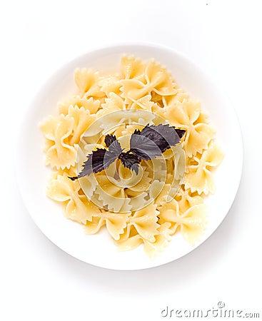 Bowl of fresh plain butterfly pasta