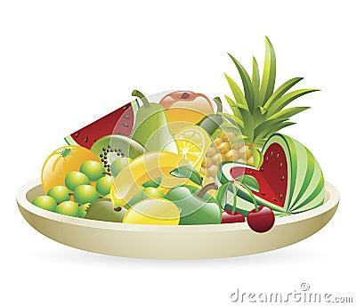Bowl of fruit illustration