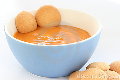 Bowl with fruit pap / mush withbiscuits