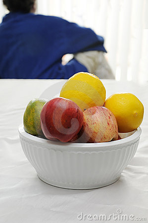 Bowl of Fruit and person