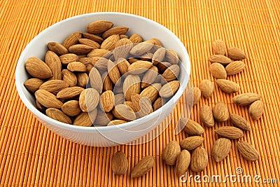 Bowl full of fresh almonds