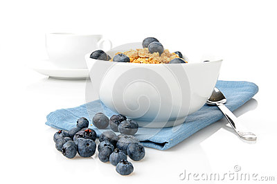 Bowl of granola with blueberries