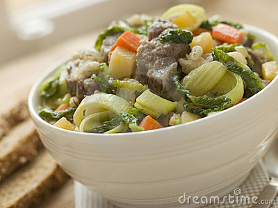 Bowl of Irish Stew with Soda Bread