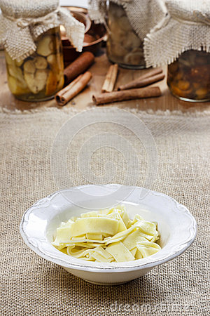 Bowl of macaroni on hessian table cloth