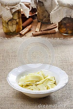 Bowl of macaroni on hessian table cloth