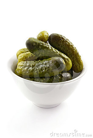 Bowl with marinated cucumbers