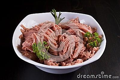 Bowl of minced pork