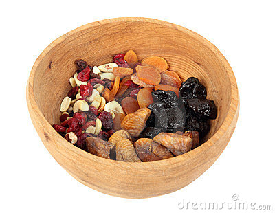 Bowl of mixed dried fruits
