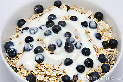 Bowl of muesli with yogurt and blueberries