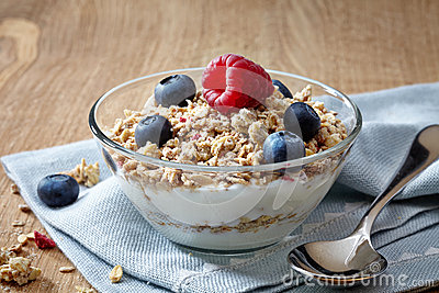 Bowl of muesli and yogurt