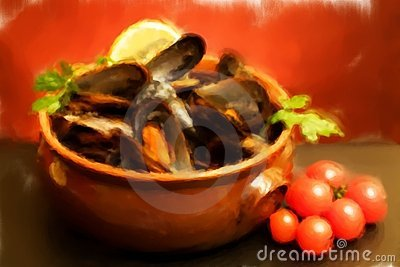 Bowl With Mussels Soup - Oil Paint