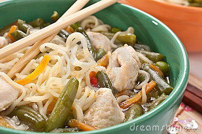 Bowl of noodle chicken soup
