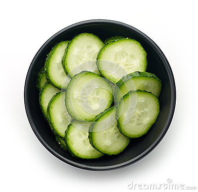 Free Bowl Of Fresh Cucumber Slices, From Above Stock Photos - 78790723