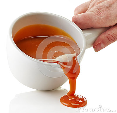 Free Bowl Of Melted Caramel Sauce Royalty Free Stock Photo - 48043155