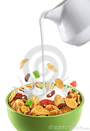 Free Bowl Of Muesli And Dried Fruit Isolated On A White Background. Stock Images - 62782584