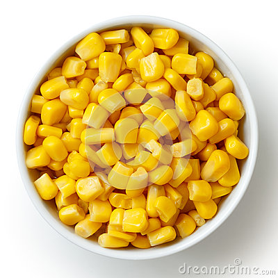 Free Bowl Of Tinned Sweetcorn Isolated From Above On White. Stock Photos - 56321483