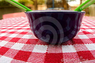 Bowl on plaid tablecloth