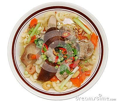 Bowl of pork pasta