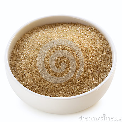 Bowl of Raw Sugar over White
